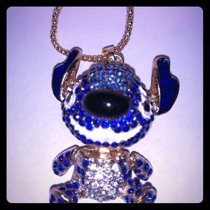 """Betsey Johnson Stitch Blue Crystal 28"""" Necklace"""